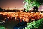 procession aux flambeaux à l'extérieur de l'Oratoire